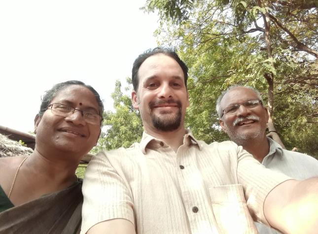 With Narsanna and Padma Koppula at Aranya Farm